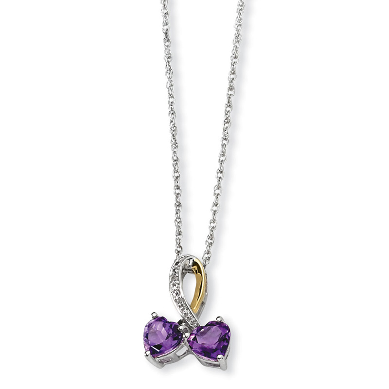 Sterling Silver & 14K Yellow Gold 17in Amethyst and Diamond Heart Necklace by Kevin Jewelers