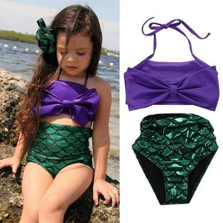 Children two-piece bikini swimsuit Princess Mermaid Baby Kids Girls Bowknot Sequins Bikini set Swimwear - Sequin Swimsuit