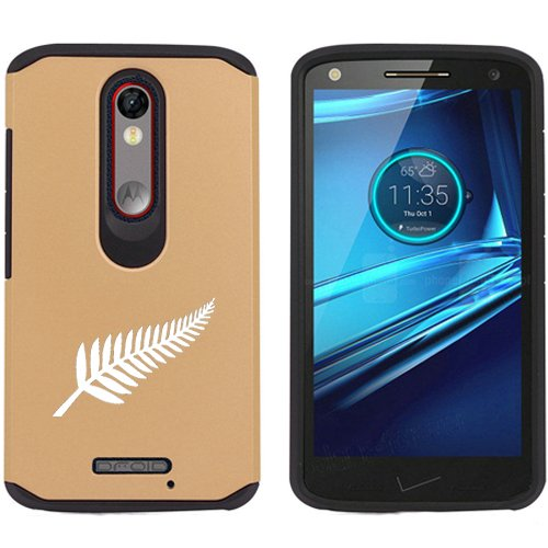 Motorola Droid Turbo 2 Shockproof Impact Hard Soft Case Cover New Zealand Silver Fern (Gold)