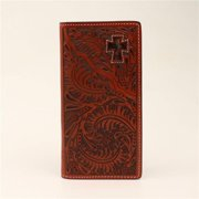 3D Belt DW441 Mens Wallet Leather Rodeo Tooled Cutout Cross Hair Inlay, Tan