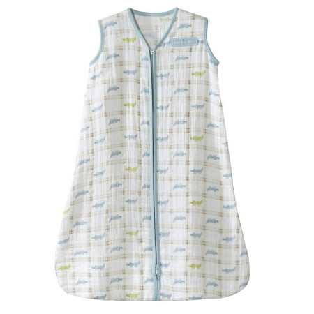 (HALO SleepSack Wearable Blanket, 100% Cotton Muslin, Blue Gator Plaid, Medium)