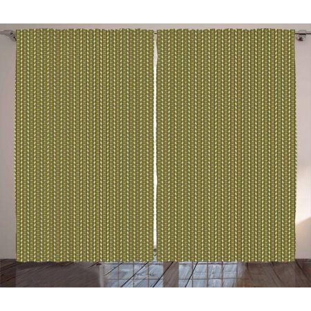 Vintage Curtains 2 Panels Set, Geometrical Simple Exotic Vertical Borders with Stripes and Zigzag, Window Drapes for Living Room Bedroom, 108W X 90L Inches, Pistachio Green and Brown, by Ambesonne