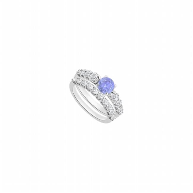 Fine Jewelry Vault UBUJS1916ABW14CZTZ Created Tanzanite Engagement Ring With Cubic Zirconia Wedding Sets in 14K White... by Fine Jewelry Vault