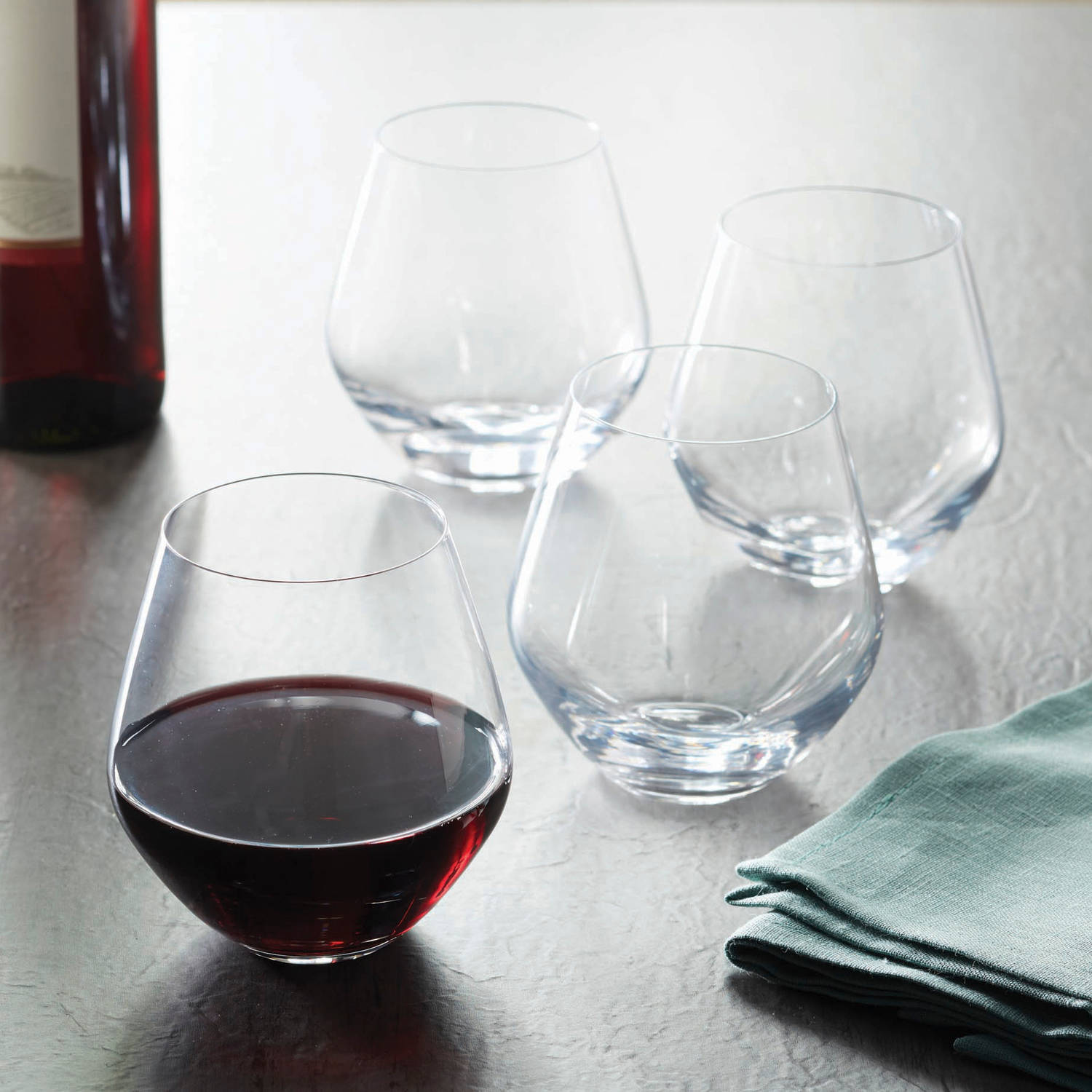 Better Homes and Garden Cielo Stemless Red Wine Glasses, Set of 4 by Circle Glass LLC