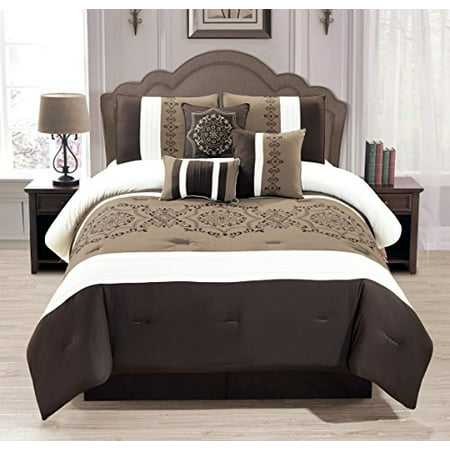 wpm 7 pieces complete bedding ensemble brown taupe victorian print luxury embroidery comforter. Black Bedroom Furniture Sets. Home Design Ideas
