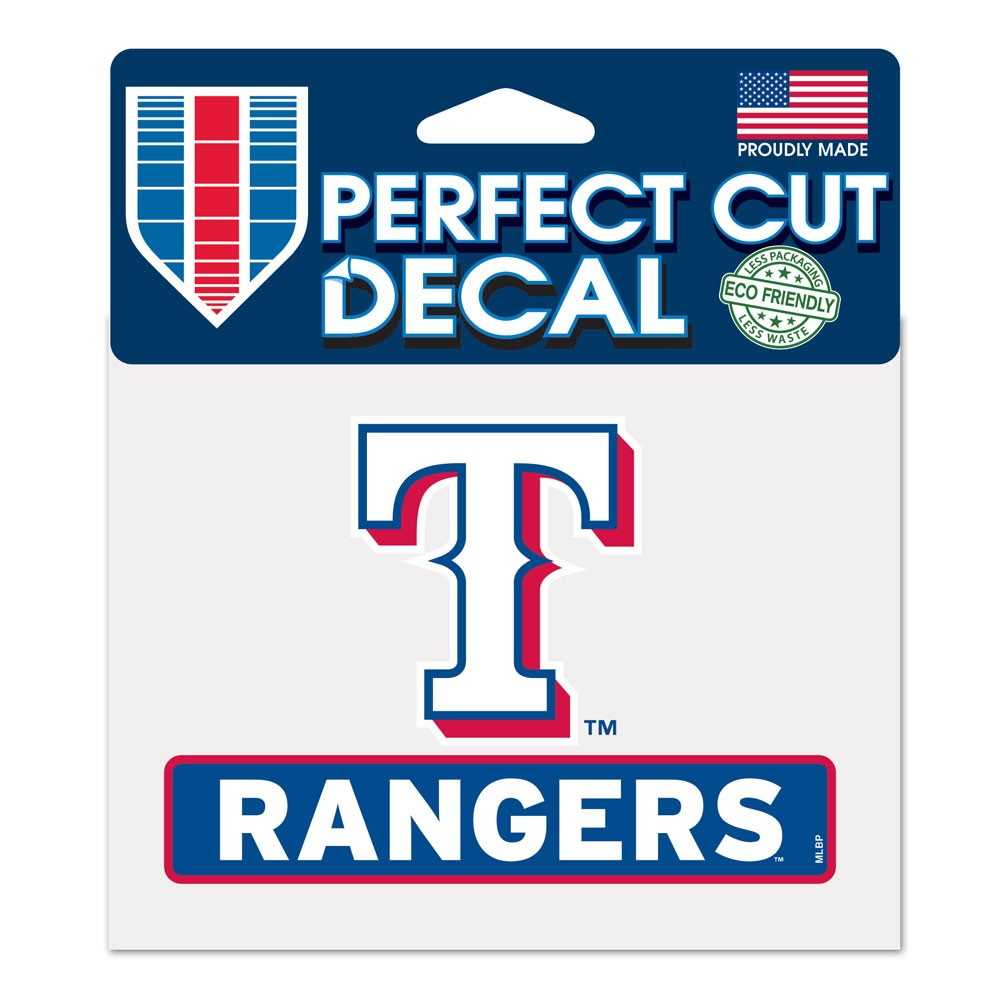 Texas Rangers Official MLB 4 inch x 5 inch  Die Cut Car Decal by Wincraft