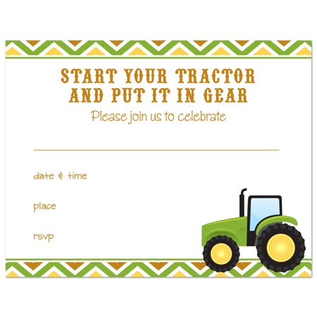 Farm Tractor Fill In Birthday Invitations And Envelopes