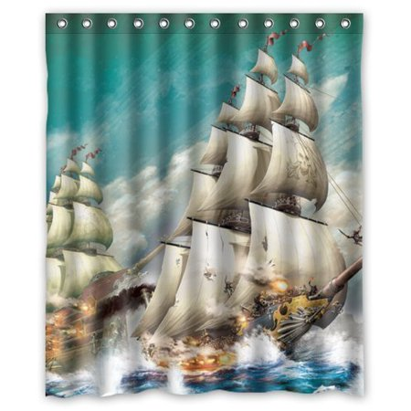 Ganma King Queen Cool Pirate Ship Shower Curtain Polyester Fabric Bathroom 60x72 Inches