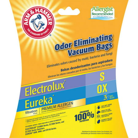 Arm & Hammer Premium Filtration Odor Eliminating Vacuum Bags, Electrolux S / Eureka OX, 3 Pack