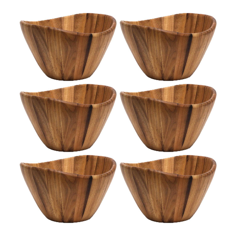 Lipper International Inc. Acacia Wave Large Wooden Salad Serving Bowl (6 Pack)