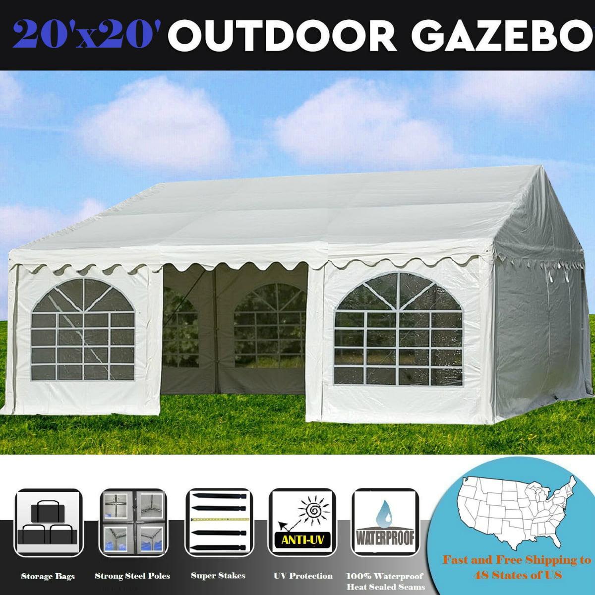 20'x20' PVC White Tent - Heavy Duty Wedding Party Tent Ca...