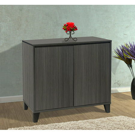 Striped Console Cabinet - Anitra Oak Gray Wood Modern 2 Door Cabinet Entryway Console Table With Adjustable Storage Shelf