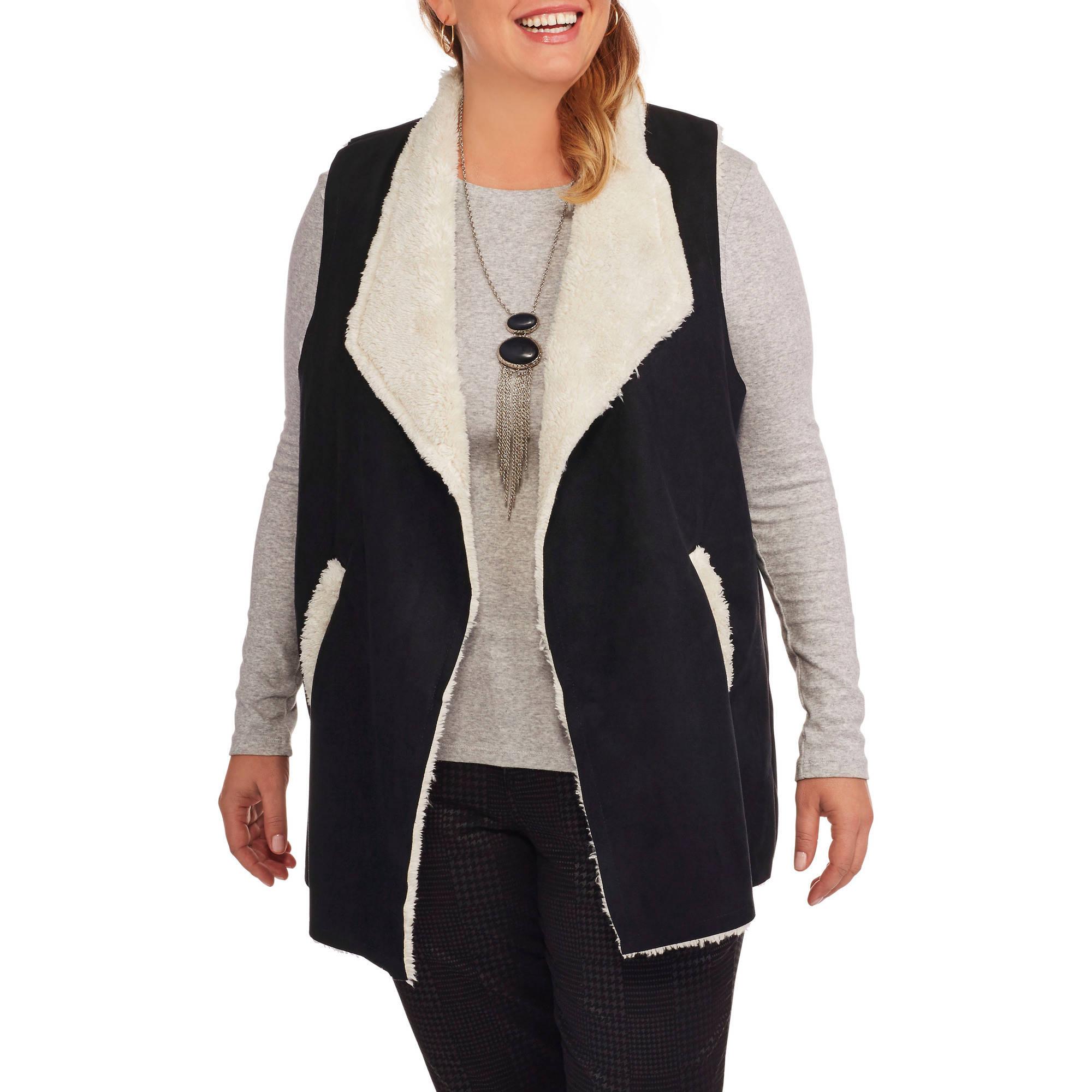 French Laundry Women's Plus Flyaway Vest with Moleskin Sherpa