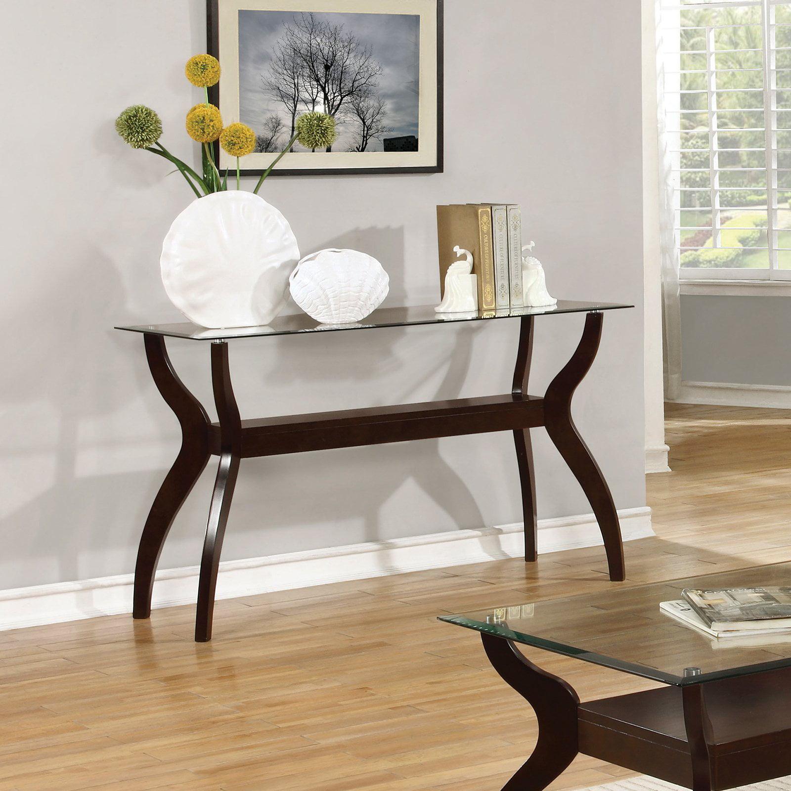 Coaster Furniture Glass Top Sofa Table Cappuccino by Coaster Furniture