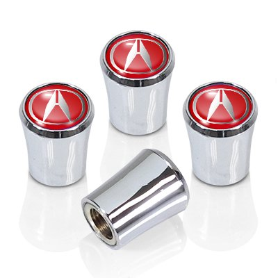 Acura Red Logo Chrome Tire Stem Valve Caps Deda Logo Stem