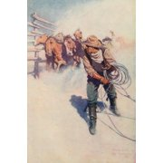 Scribner's 39 1906 A day with the round-up Poster Print by  Newell C. Wyeth (18 x 24)