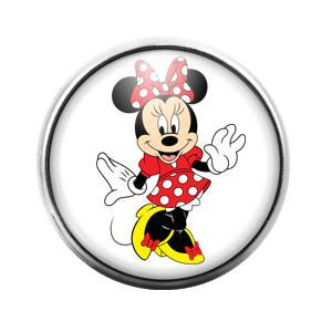 Minnie Mouse - 18MM Glass Dome Candy Snap Charm (Minnie Mouse Heart Charm)