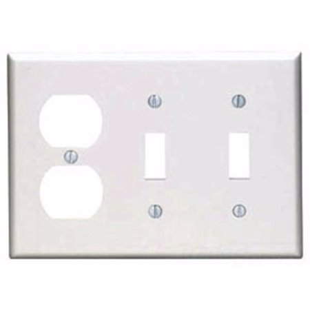 Leviton 80721-I 3-Gang 2-Toggle 1-Duplex Device Combination Wallplate, Standard Size, Ivory