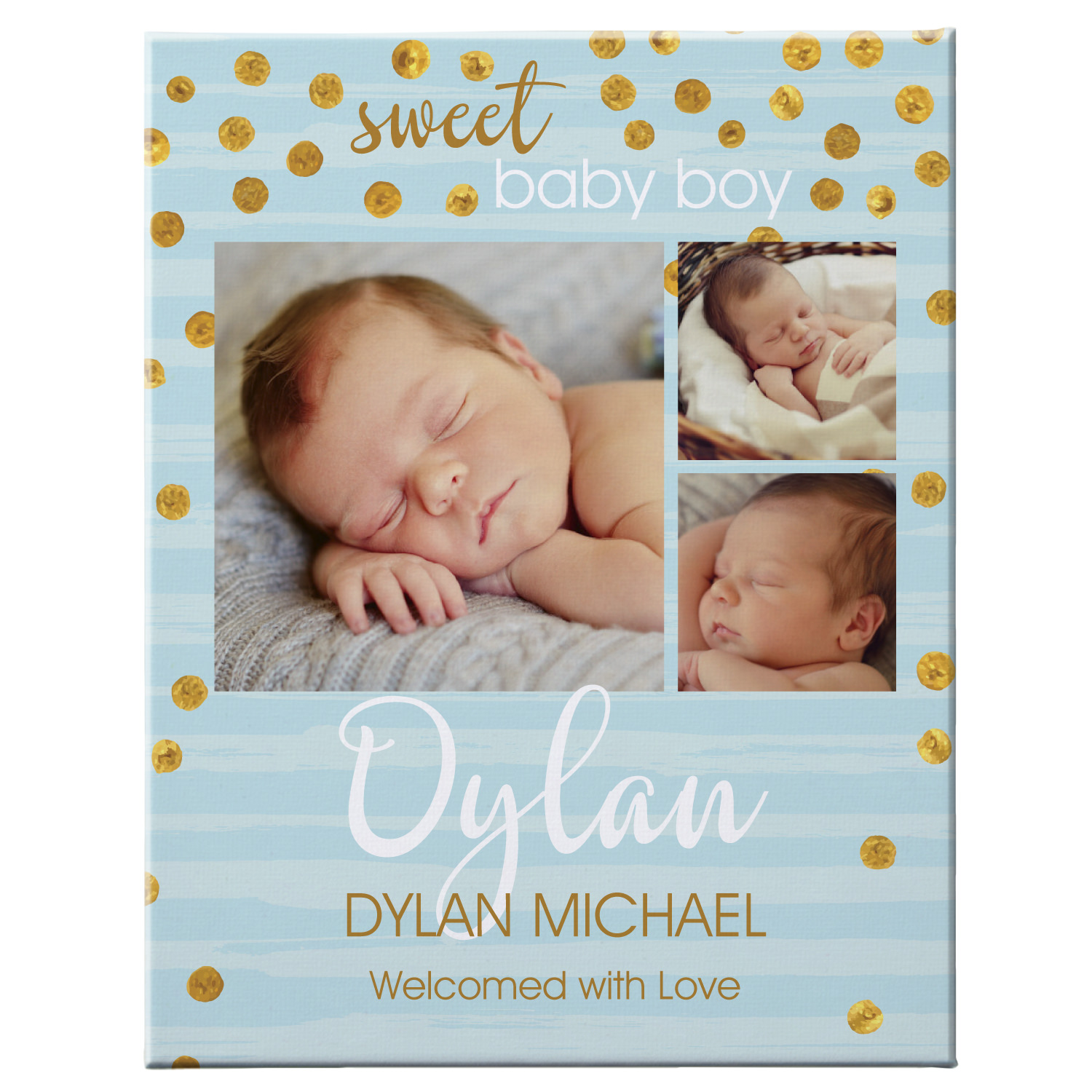 Personalized Introducing Our Baby Photo Canvas - Available in Blue or Pink and 2 Sizes