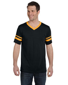 Augusta Sportswear T-Shirts V-Neck Jersey with Striped Sleeves