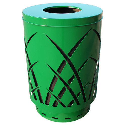 Witt Industries SAW40P-FT-GN Covington Sawgrass 40 Gallon Steel Receptacle With Flat Top - Green