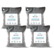 Brilliant Evolution 4 Pack 220G Natural Bamboo Charcoal Air Purifying Bag | Car Air Freshener | Activated Charcoal Odor Eliminators | Moisture Absorber | Closet Deodorizer