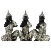 3-Pc Sitting Buddha No Evil Figurine Set