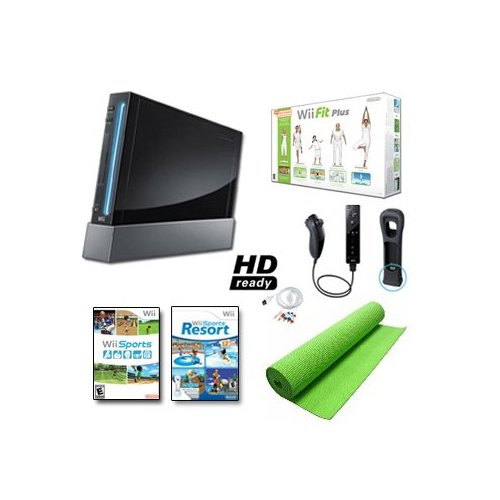 Refurbished Nintendo Wii Black System Wii Fit Plus Balance Board Mat Bundle