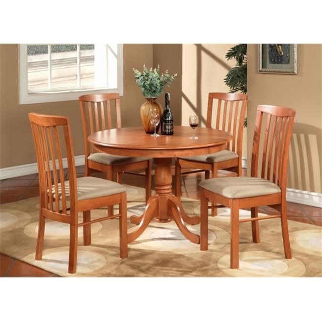 East West Furniture HART5-CHR-C 5 -Piece Hartland Table 42 in. Round Table and 4 Microfiber Upholstered seat Chairs - Light Cherry Finish