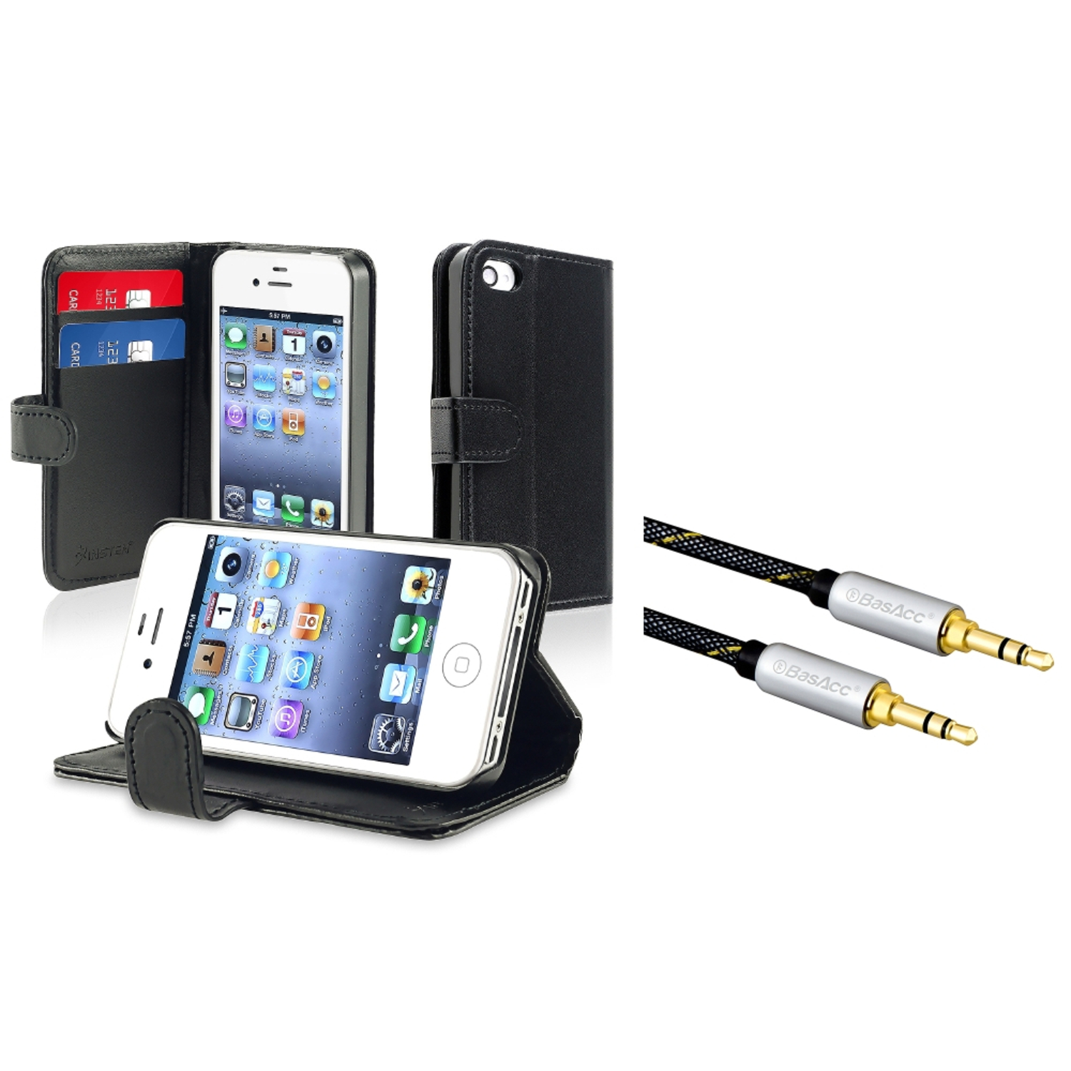 Insten Wallet Leather Case for iPhone 4 / 4S AT&T / Verizon, Black (+ 3.5mm Audio Cable)