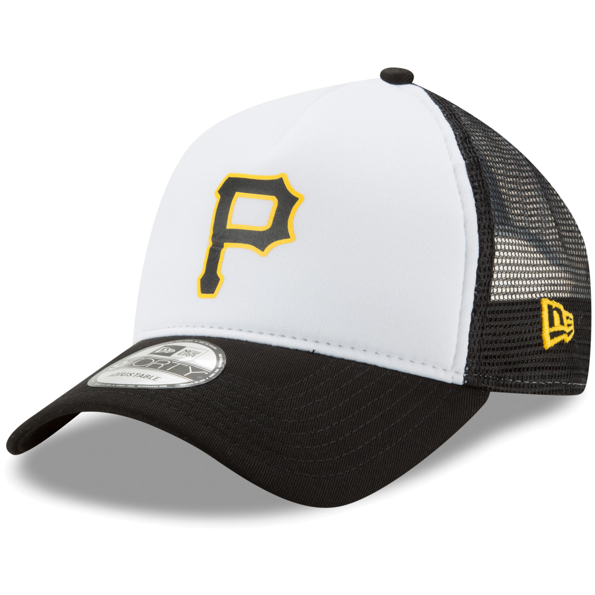 Pittsburgh Pirates New Era Trucker Hit A-Frame 9FORTY Adjustable Snapback Hat - White/Black - OSFA