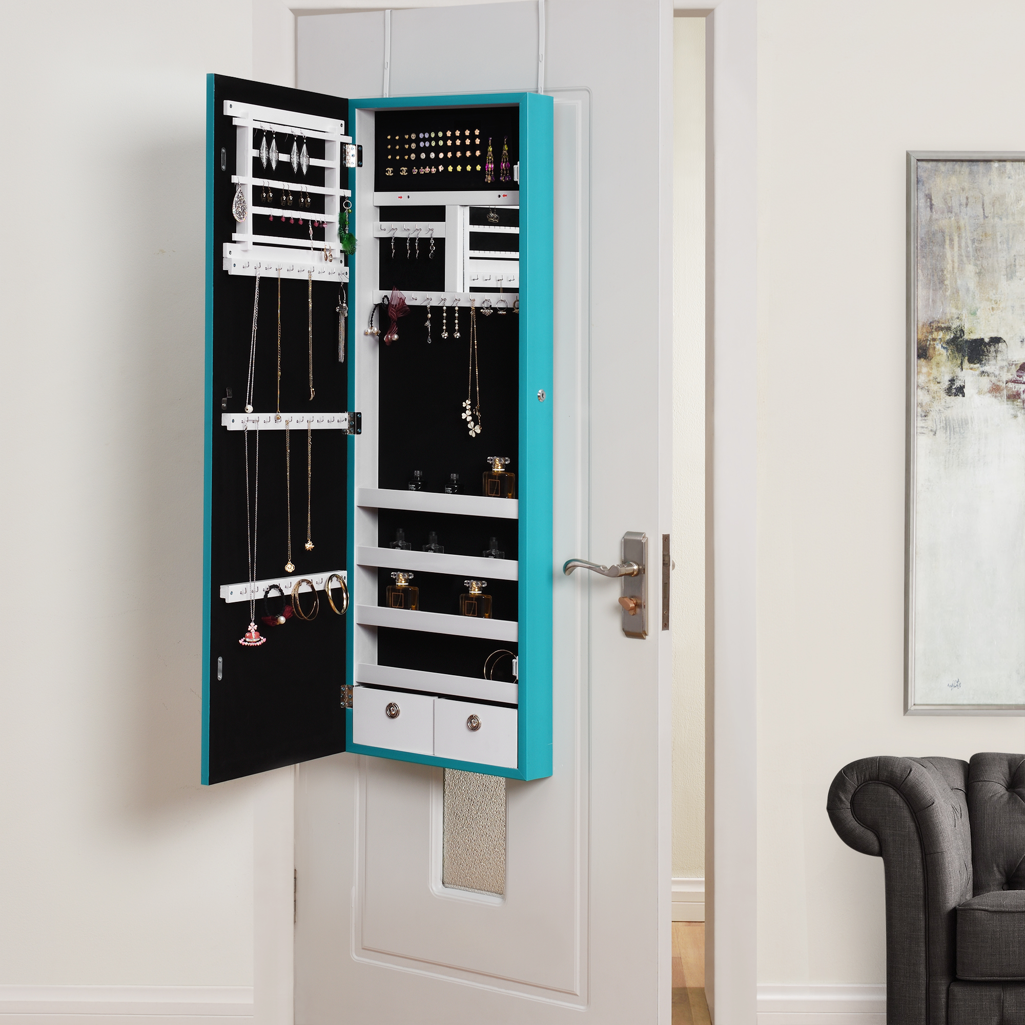 callie turquoise full length over the door wall mounted jewelry armoire makeup storage. Black Bedroom Furniture Sets. Home Design Ideas