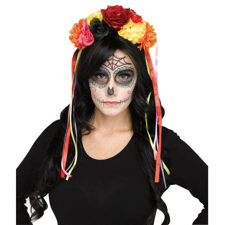 Day Of The Dead Womens Adult Halloween Accessory Headband - Day Of The Dead Faces For Halloween