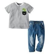 ZIYIXIN Kid Boy Lapel Collar Stripes Shirt Summer Side Pocket Ripped Jeans