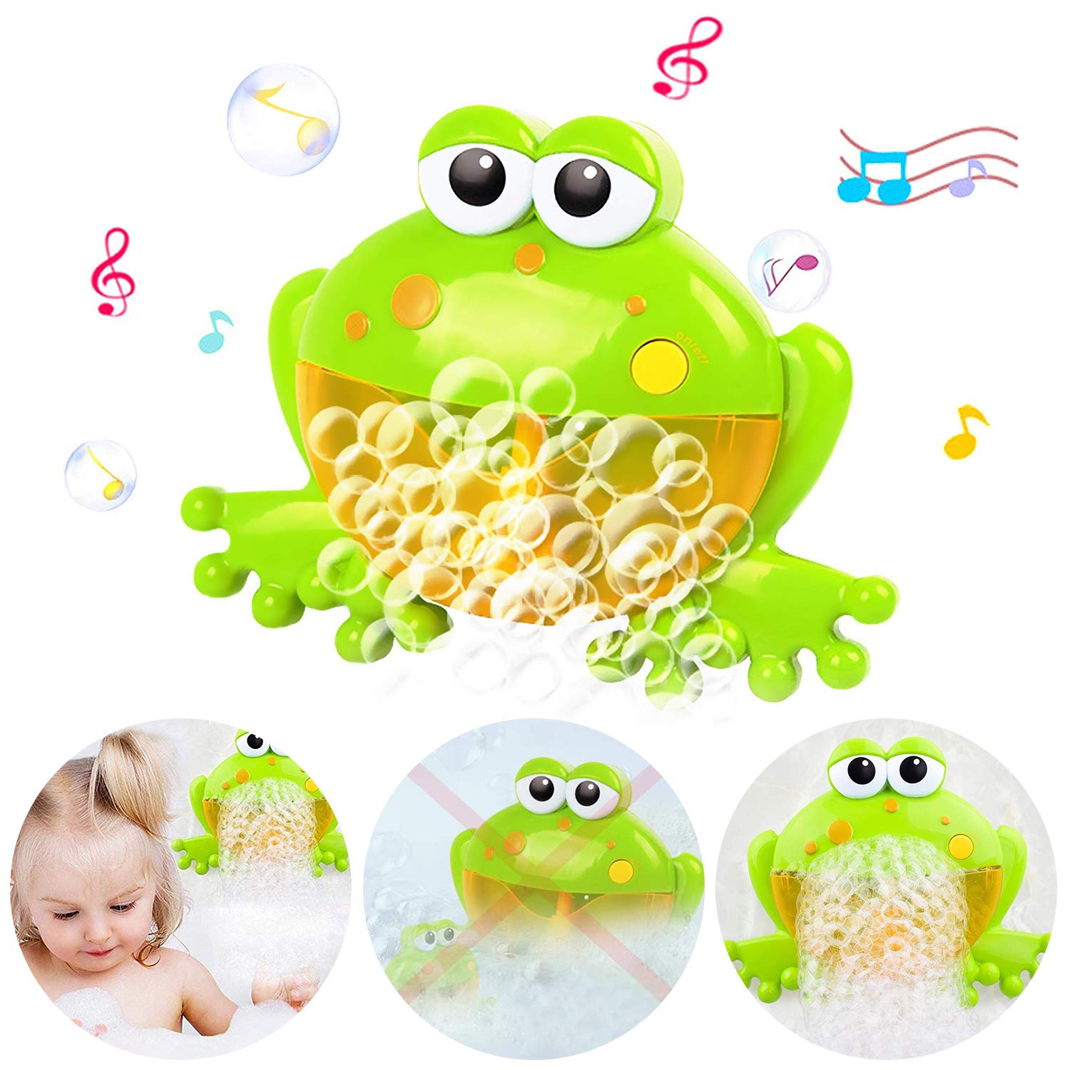 Zioblw Frog Bubble Machine For Baby Bath Toys Musical Bathtub Bubble Toy Bubble Maker With Nursery Rhyme For Infant Baby Children Kids Happy Tub Time Bubble Machine For Boys And Girls Aged 1