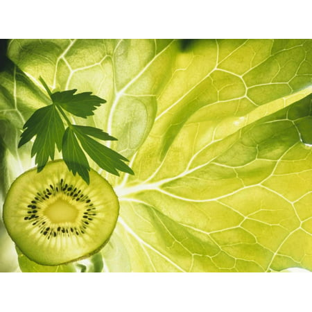 Kiwi Slice and Sprig of Parsley on a Lettuce Leaf Print Wall Art By Peter