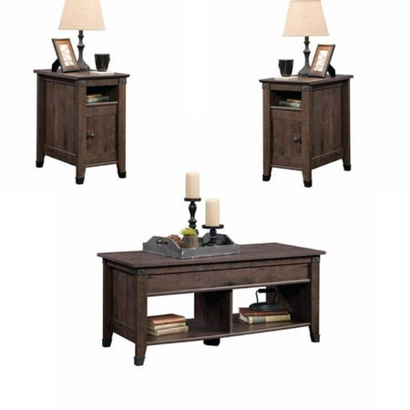 Rustic 3 Piece Coffee Table And End Table Sets In Oak