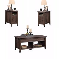 Rustic 3 Piece Coffee Table and End Table Sets in Oak Brown