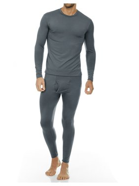 Thermajohn Men's Ultra Soft Thermal Underwear Long Johns Sets with Fleece Lined (Black, L)