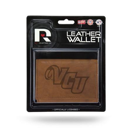 VCU Virginia Commonwealth Rams NCAA Embossed Brown Leather Trifold Wallet