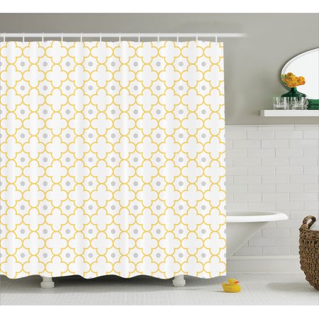 Quatrefoil Decor Shower Curtain, Moroccan Lattice Pattern Dots in Daisy Diamond Petals Four Leaf Clover, Fabric Bathroom Set with Hooks, 69W X 70L Inches, Brown White, by Ambesonne