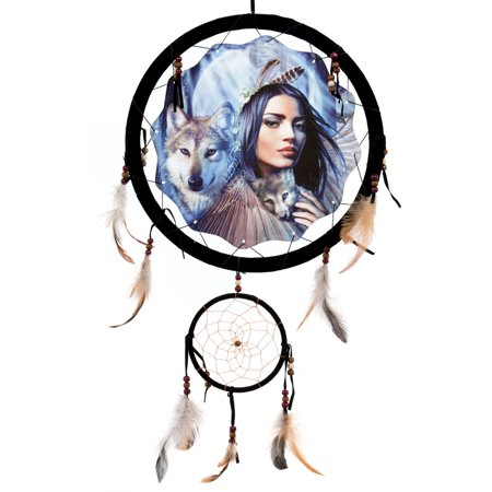 13inch Dream Catcher Maiden with Wolf - Reproduction