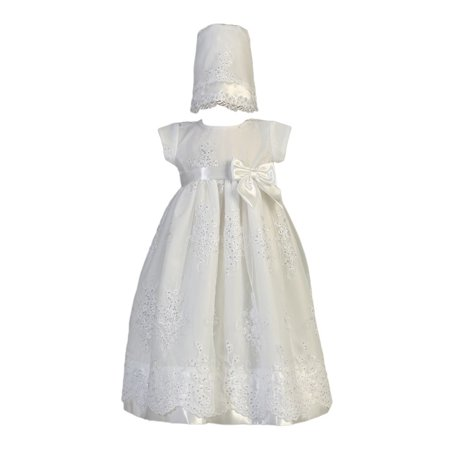 Baby Girls White Embroidered Organza Sequin Christening Gown