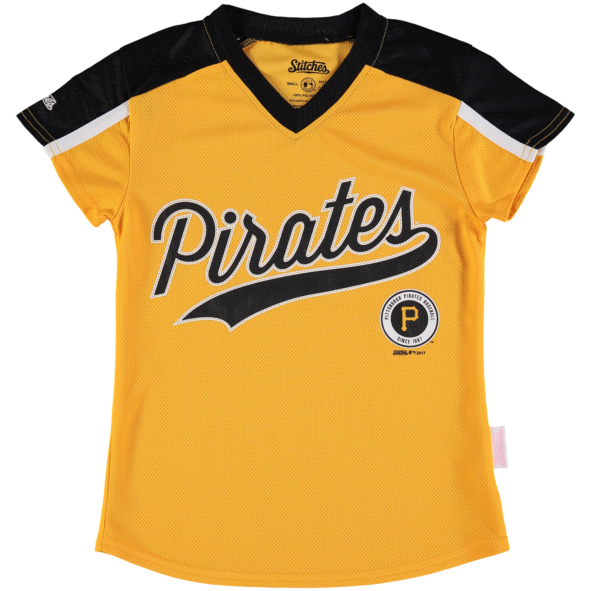 Pittsburgh Pirates Stitches Girls Youth V-Neck Jersey T-Shirt - Gold/Black