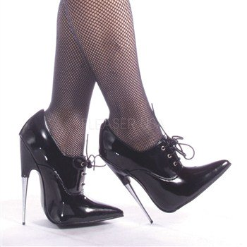 Scream-18, Fetish High Heel Pump Shoes-Size 8-Black Patent - Scream Heels