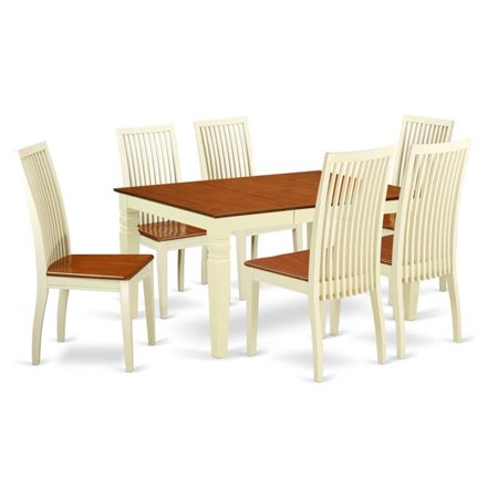 Admirable East West Furniture Weston 7 Piece Extending Dining Table Set And Wood Seat Dining Chairs Gmtry Best Dining Table And Chair Ideas Images Gmtryco