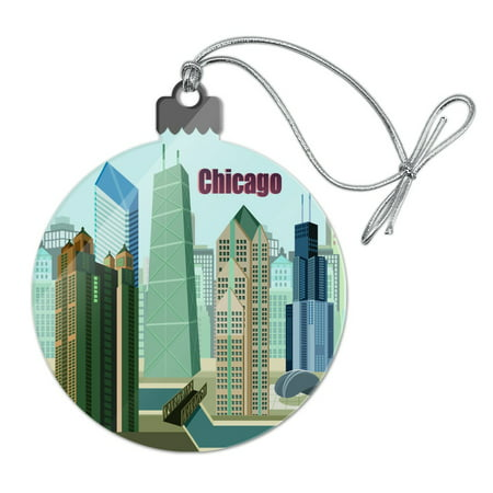 Chicago Hancock Building Willis Tower Cloud Gate Bean Acrylic Christmas Tree Holiday Ornament