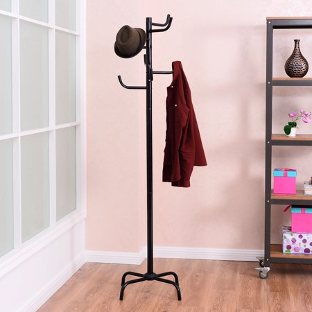 GHP Black Powder-Coated Steel Coat Hat Rack Clothes Hanger Tree Stand with 8 -