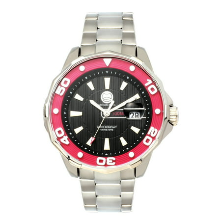 100M Mens Rugged Sport Watch , Stainless steel band with rotating bezel, water resist 100 meters