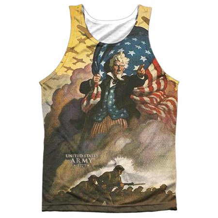 Army & Vintage Poster Front & Back Print-Adult 100 Percent Poly Tank Top T-Shirt, White - Medium (100 Dollar Bill Front And Back)